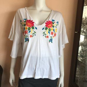 Zara White Floral Embroidery Blouse Top Red Blue